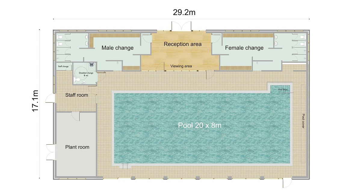 Oakleigh park school of swimming commercial pool for Swimming pool site plan